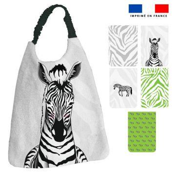 Lot de 5 coupons éponge pour serviettes de table pour enfant motif zèbre - Création Anne Clmt