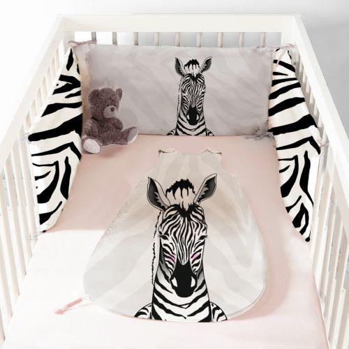 Coupon velours d'habillement pour tour de lit motif zèbre - Création Anne Clmt