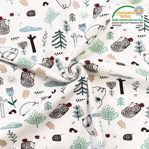 coupon - Coupon 44cm - Jersey blanc imprimé animaux de la forêt Oeko-tex