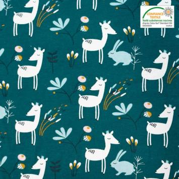 coupon - Coupon 43cm - Jersey bleu canard motif lapin et biche faola