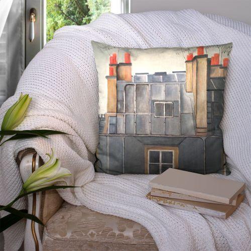 Coupon 45x45 cm motif bâtiment - Création Lilou L