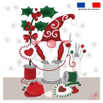 Coupon 45x45 cm motif lutin couturier blanc - Création Créasan'