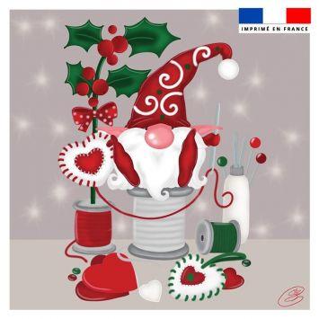 Coupon 45x45 cm motif lutin couturier gris - Création Créasan'