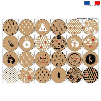 Coupon microfibre pour lingettes lavables forme ronde motif liège de Noel Oeko-tex
