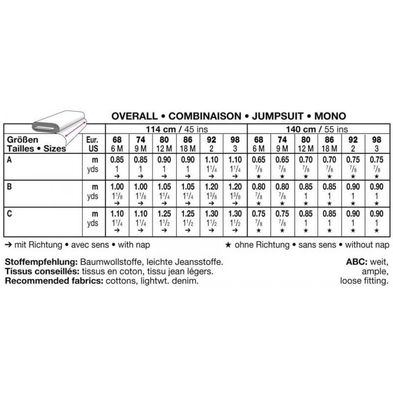 Burda 9652 Combinaison Taille : 6M-3ans