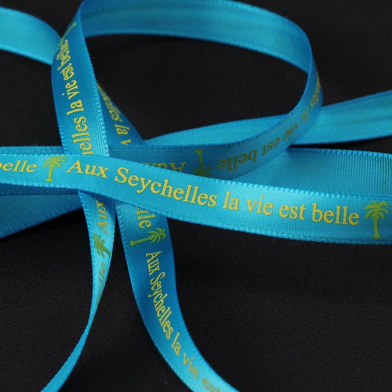 "Ruban fantaisie ""Aux Seychelles"" Bleu 9 mm"