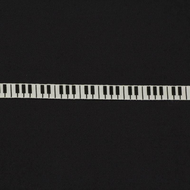 """Ruban """"touches de piano"""" 10mm couleur blanche"""