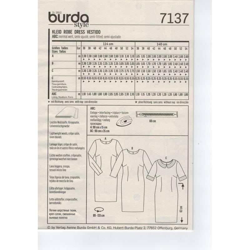 Patron Burda N°7137: Robe Taille : 36-54