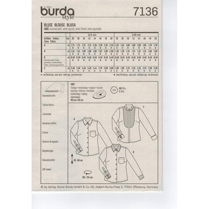 Patron Burda N°7136: Chemisier, Blouse Taille : 36-50