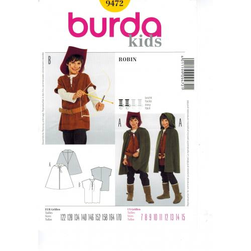 Patron N°9472 Burda kids : Robin des bois Taille : 7-15 ans