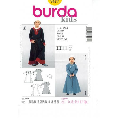 Patron N°9473 Burda kids :Robe Taille : 3- 13 ans