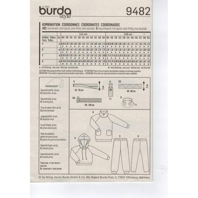 Patron N°9482 Burda kids : Coordonnés Taille : 4-14 ans