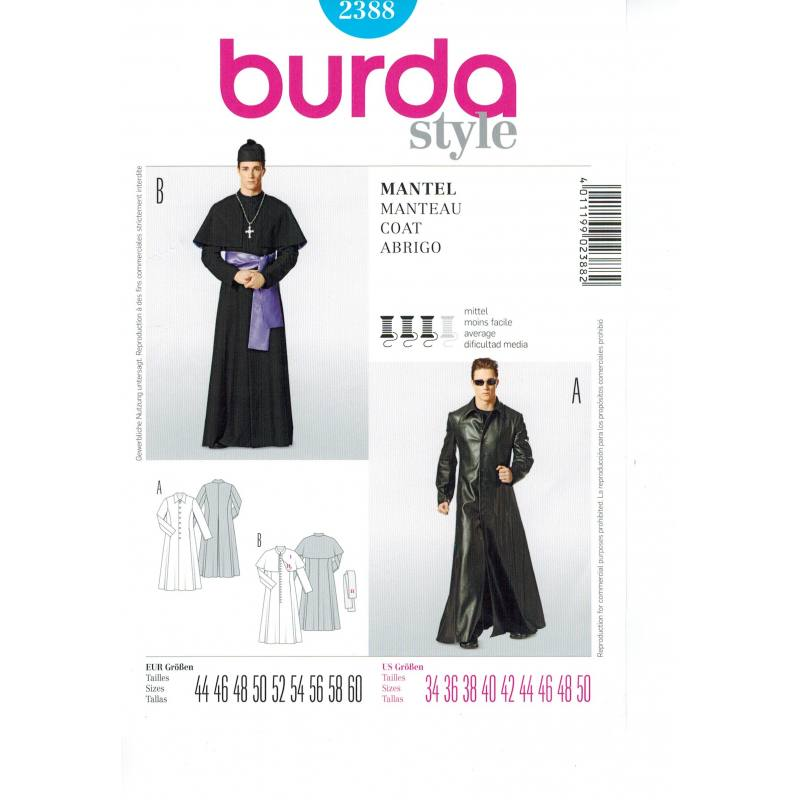 Patron Burda n°2388 carnaval : Manteau Taille : 44-60