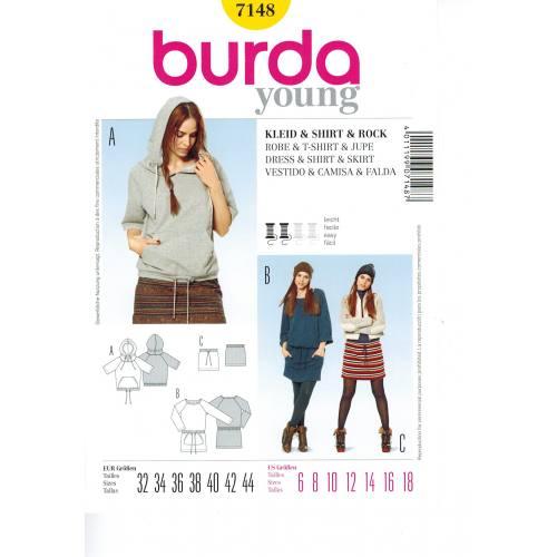 Patron N°7148 Burda : Shirt, Jupe & Robe Tunique Taille : 32-44