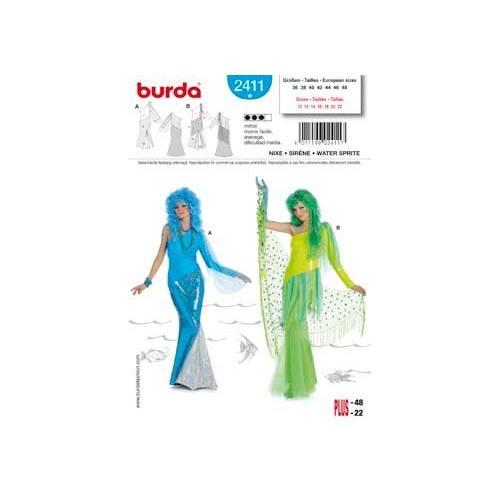 Patron Burda N°2411 carnaval : Siréne Taille : 36-48