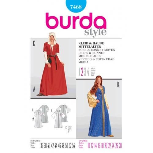 Patron N°7468 Burda historique : Robe, bonnet Moyen-Âge Taille : 36-54