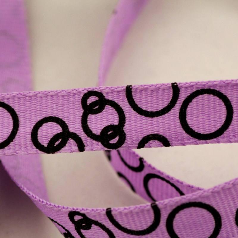 Ruban fantaisie de 10 mm - ronds violet