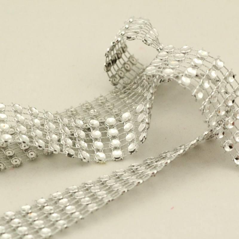 Galon perles paillettes - Argent
