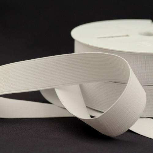 Rouleau 25m d'élastique cotelé blanc 30 mm