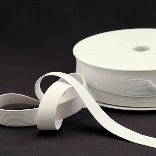 Rouleau 25m d'élastique cotelé blanc 20 mm