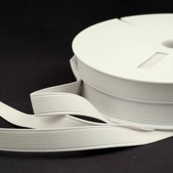 Rouleau 25m d'élastique cotelé blanc 15 mm