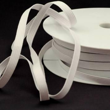 Rouleau 50m d'élastique tresse plate 9 mm blanc