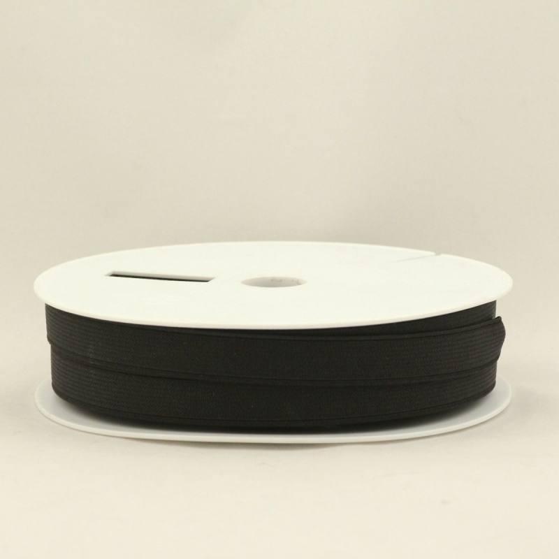 Rouleau 25m d'élastique cotelé noir 15 mm
