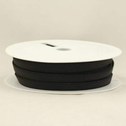 Rouleau 25m d'élastique cotelé noir 10 mm