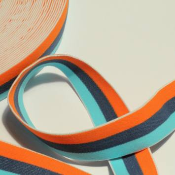 bobine d'élastique 30 mm bleu ciel, bleu marine, et orange