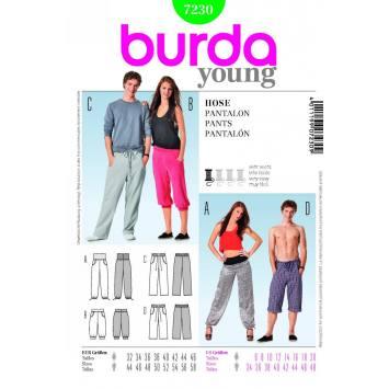 Patron N°7230 Burda Young : Pantalon Taille : 32 à 58