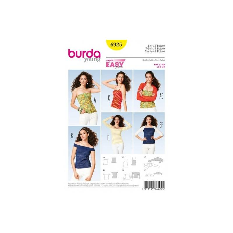 Patron Burda 6925 : T-shirt et bolero 32-46