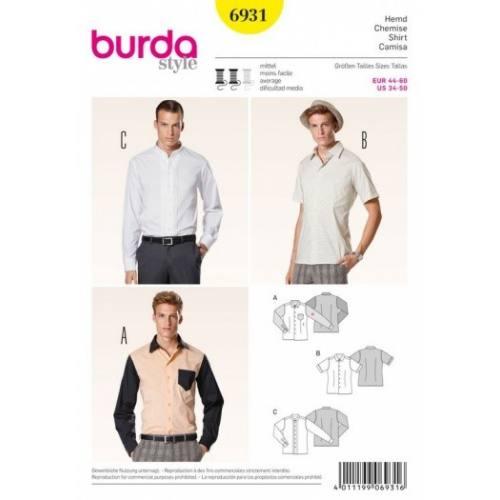 Patron Burda 6931 : Chemise 44-60