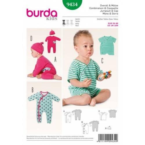 Patron Burda 9434 : Combinaison et casquette 1mois à 18mois