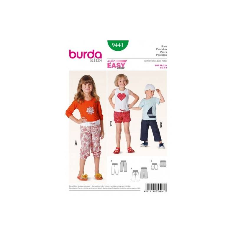 Patron Burda 9441 : Pantalon 3 ans à 9 ans