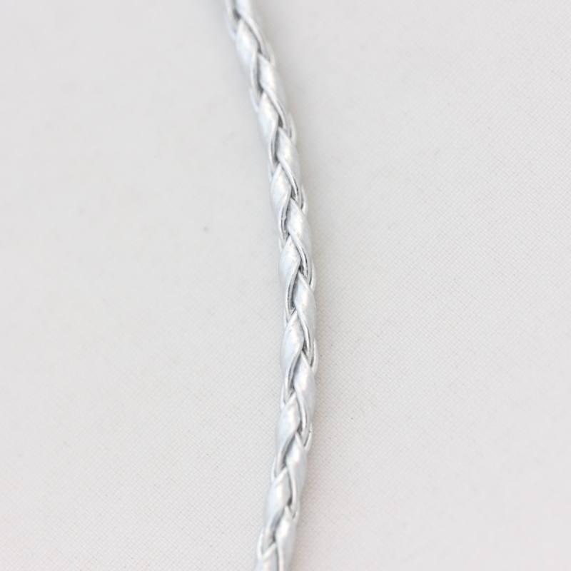 Cordelette tressée simili cuir argent 3 mm