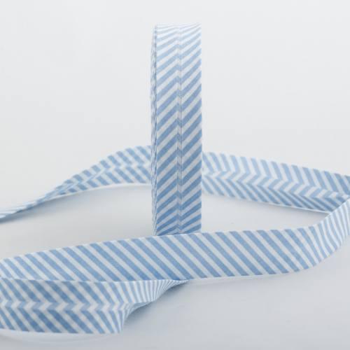 Bobine de biais 20 M - rayures blanc et bleu 08