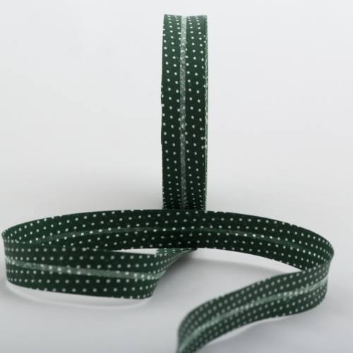 Bobine de biais 20 M - vert sapin à pois blanc