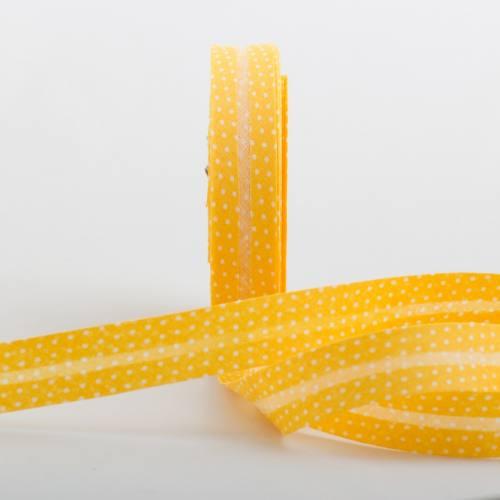 Bobine de biais 20 M - jaune à pois blanc