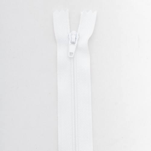 Fermeture 18cm polyester non séparable blanc col 101