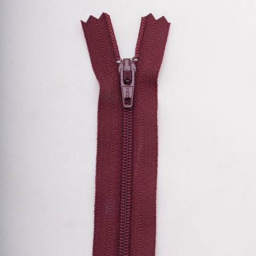 Fermeture 12 cm polyester non séparable bordeaux Col 116