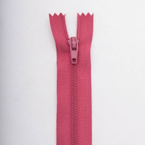 Fermeture 40 cm polyester non séparable rose Col 123