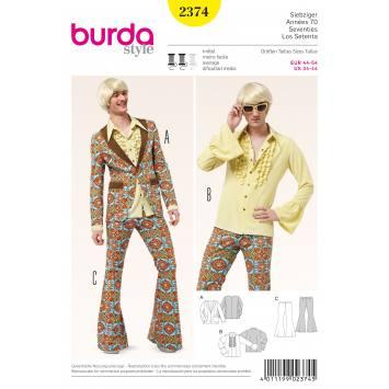 Patron Burda 2374 : Veste, chemise, pantalon pattes d'éléphant T44 à 54
