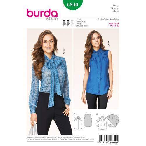 Patron Burda 6840 : Blouse T36 à 46