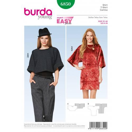 Patron Burda 6850 : T-shirt T32 à 46