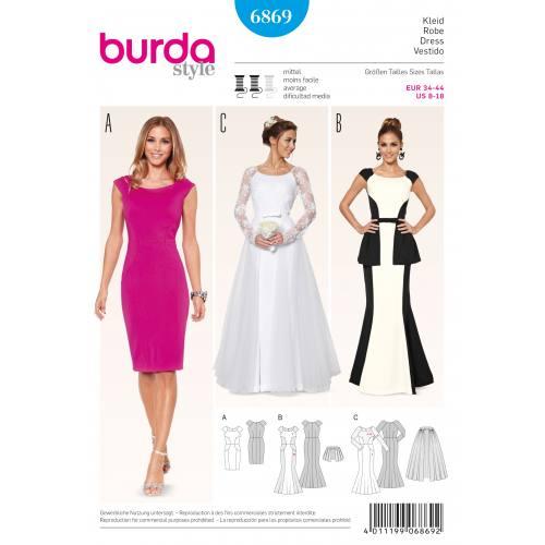 Patron Burda 6869 : Robe T34 à 44