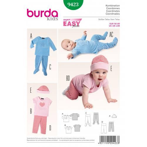 Patron Burda 9423 : Ensemble bébé et bonnet T56 à 80
