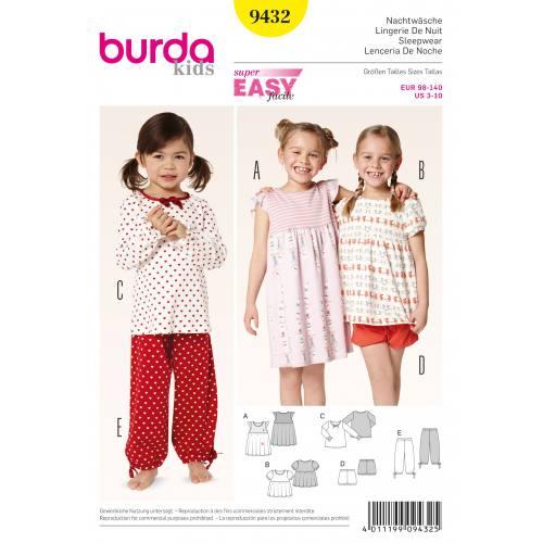 Patron Burda 9432 : Pijama T98 à 140