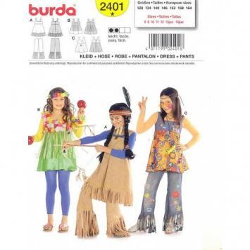 Patron Burda 2401: Carnaval Robe pantalon indienne, hawaien et hippie 128cm à 164cm