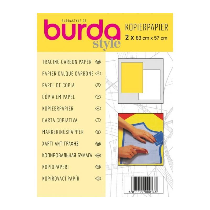 papier calque carbone burda lot de 2 feuilles jaune et blanc. Black Bedroom Furniture Sets. Home Design Ideas