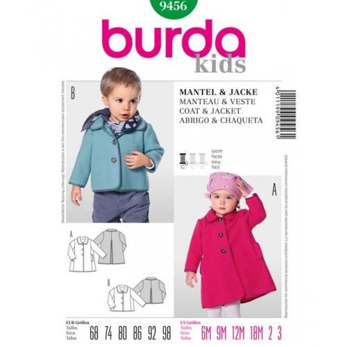 Patron Burda 9456 Kids : Manteau et veste Taille : 6 mois à 3 ans